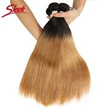 Sleek Ombre Brazilian Hair Straight T1B/27 Human Hair Weave Bundles Deal Two Ton