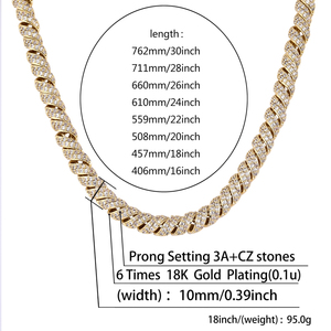 Image 5 - TOPGRILLZ  New Arrival 10mm Gold Silver Color Plated Iced Out Cubic Zircon Cuban Links Mens Necklace