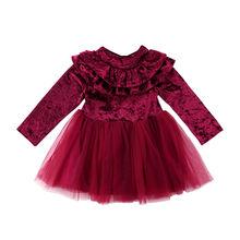 Kids Baby Girls Dress Ruffle Long Sleeve 0-5Y