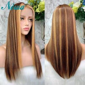 Image 2 - Newa Hair 13x6 스트레이트 레이스 프론트 인간의 머리카락 가발은 아기 머리카락으로 뽑아 냈다. Ombre Highlights 브라질 레미 레이스 프론트 가발