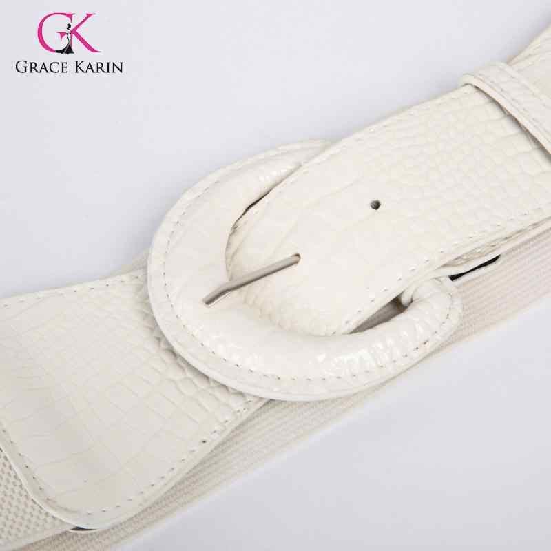 גרייס קארין אופנה נשים בנות מוצק צבע פוליאוריטן עור אבזם חגורת המותניים החגורה נמתח ליידי פנאי Ceinture החגורה