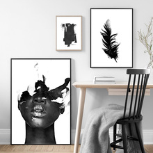 Black Feather Abstract Girl Wall Art Print Canvas Painting Nordic Poster And Prints Pictures For Living Room Decor