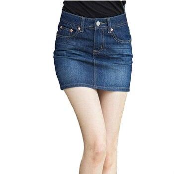 Fashion Korean Spring Summer Women Denim Skirt High Waist Mini Skirts Jeans Plus Size Harajuku Cotton blue Skirt 2020 summer new fashion denim skirt sexy women mesh patchwork lrregular a skirt women cowboy jeans skirt plus size s 2xl xnxee