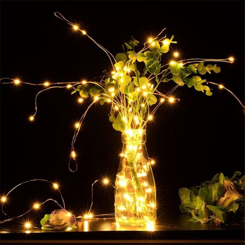 Рождественское украшение для дома, светильник, 1 м/2 м/3M/5 м/10 м, медный провод, светодиодный светильник, гирлянда, сказочный светильник, декор ...