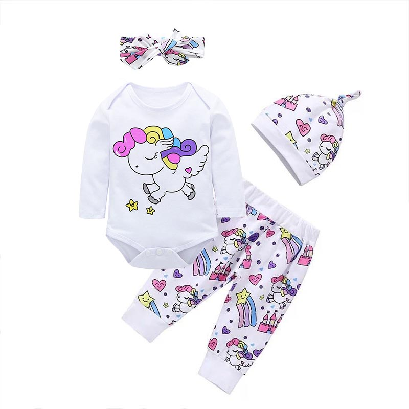 Newborn Baby Girl Clothes Sets Infant Outfits Cotton Long Sleeve Bodysuit Tops+Pants+Hat+Headband Cute 4PCS Toddler Clothing Set