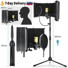 Profession Microphone Studio Recording Microphone Stand Foldable Pop Filter Wind Screen Isolation Shield Windscreen with Tripod
