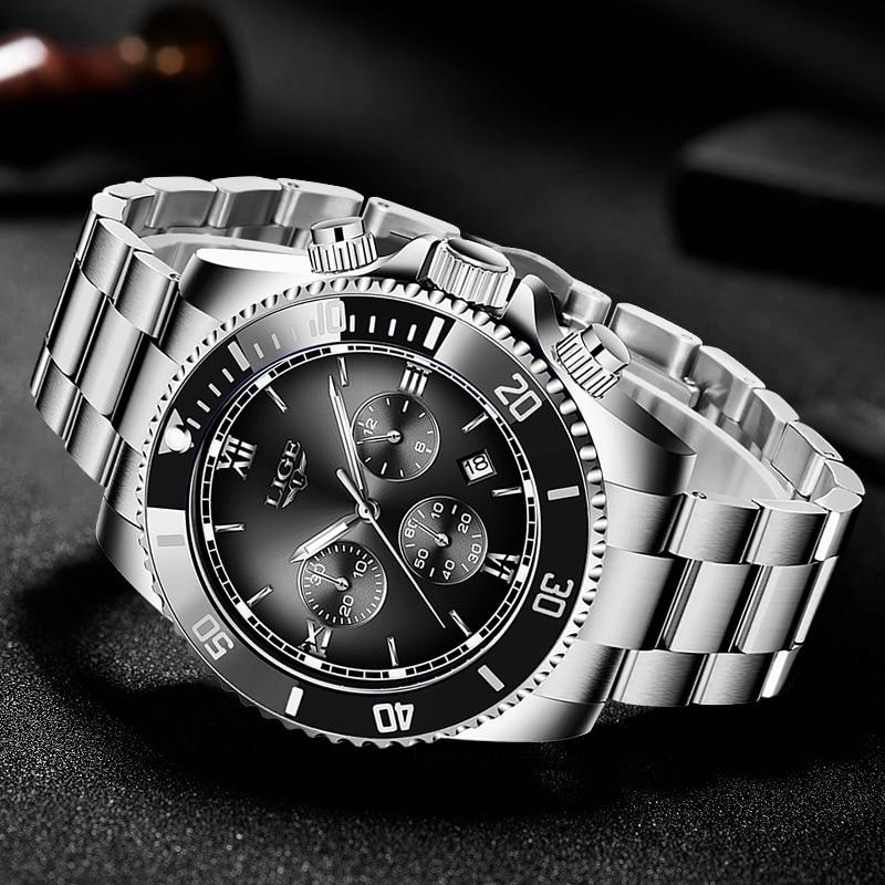 Купить часы наручные lige мужские кварцевые модные спортивные водонепроницаемые
