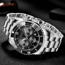 Часы наручные lige Мужские кварцевые модные спортивные водонепроницаемые