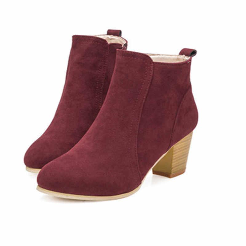 2019 Vrouwen Laarzen Flock Enkellaarsjes Lente Herfst Vrouwen Laarzen Dames Party Westerse Stretch Stof Laarzen Plus Size 35- 42