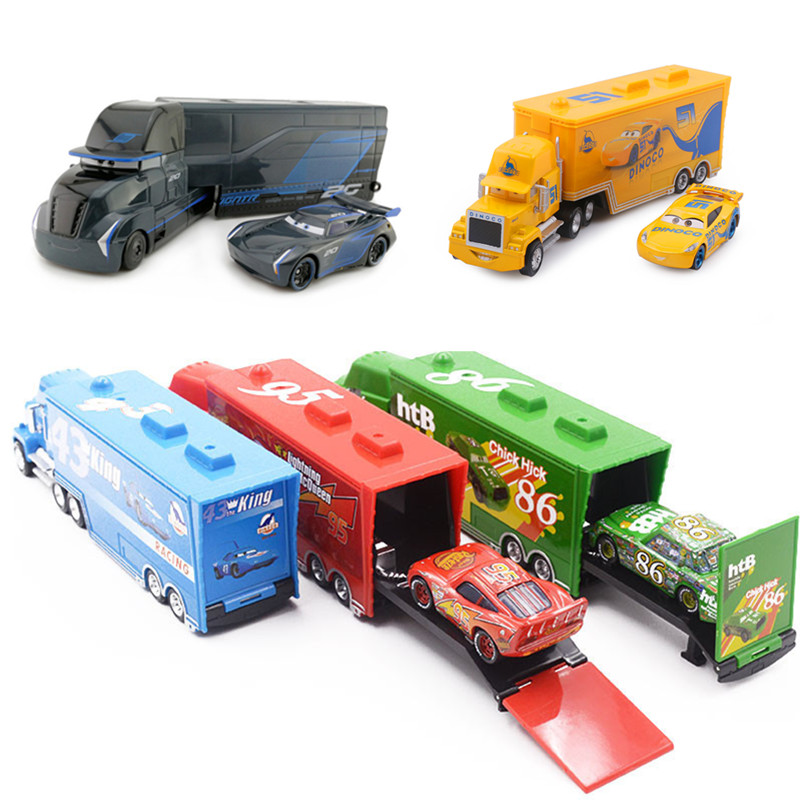Disney Pixar Cars 2 3 Toys Lightning McQueen Jackson Storm Mack Uncle Truck 1:55 Diecast Car Model Toy Kids Boy Gift
