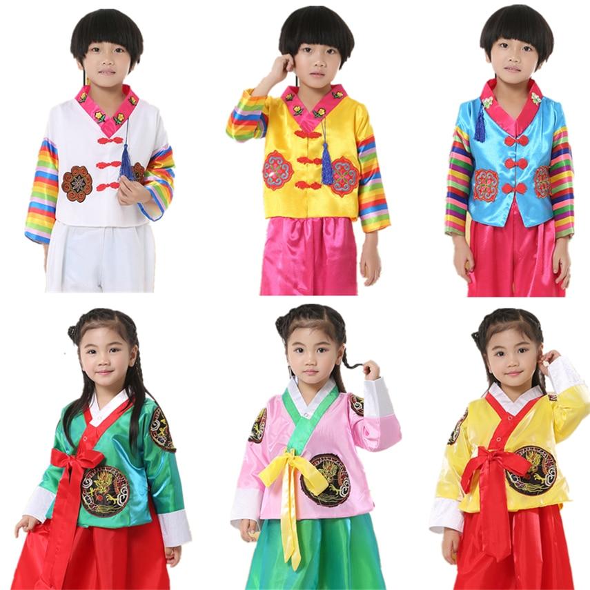 8Color Kids Korean Hanbok Costumes Traditional Nationality Fashion Clothing Boys Girls Performance Dance Top Skirt 100-160CM