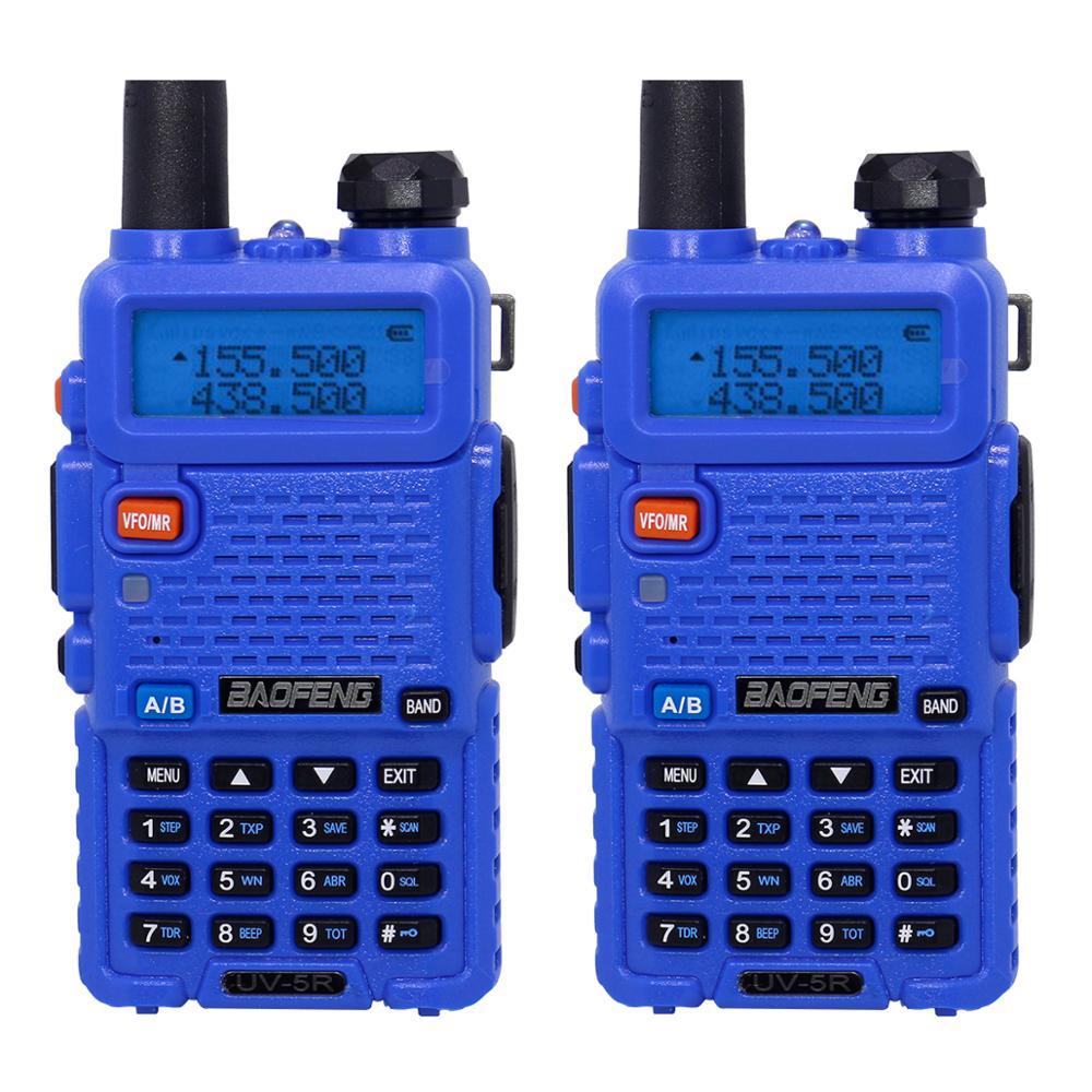 2 шт. Baofeng BF-UV5R Любительское радио портативная рация Pofung UV-5R 5 Вт VHF/UHF радио двухдиапазонное двухстороннее радио UV 5r CB радио - Цвет: Синий