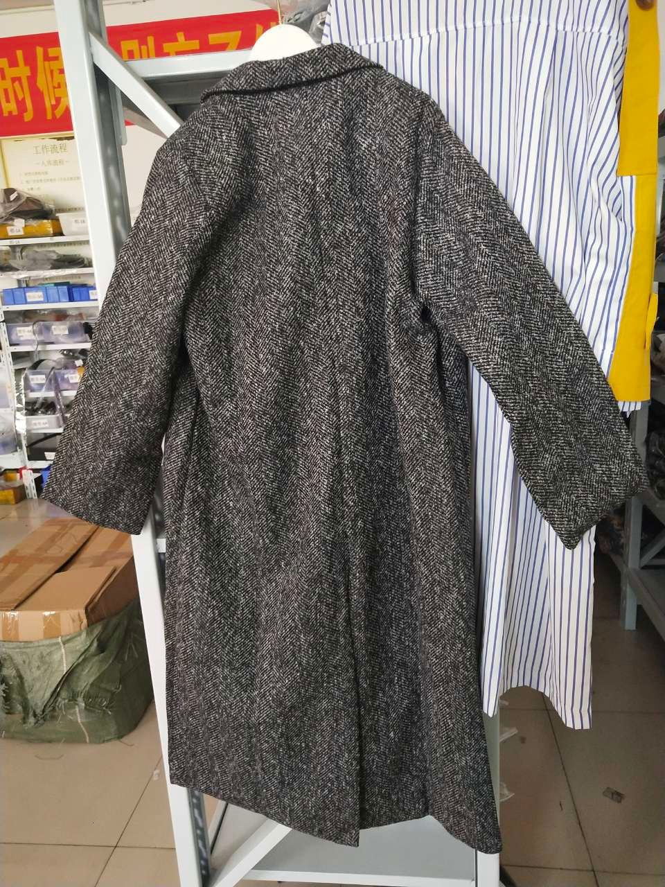 Image 5 - LANMREM 2018 Antumn Winter Herringbone Casual Open Stitch Pockets  Wide waisred Mid calaf Loose Coat Woman Overcoat EF443Wool