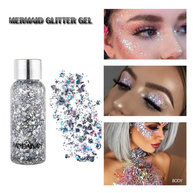 Sereia brilho sombra do cabelo rosto corpo glitter gel arte flash coração solto líquido lantejoulas pigmentos creme de maquiagem festa festival