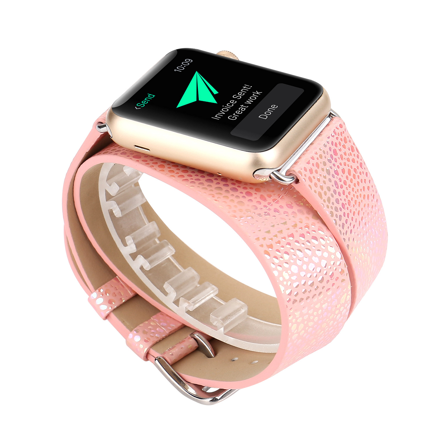 Applicable APPLE Watch Single Double Coils Flash Snakeskin Watch Strap Iwatch1234 Apple Watch Leather Watch Strap