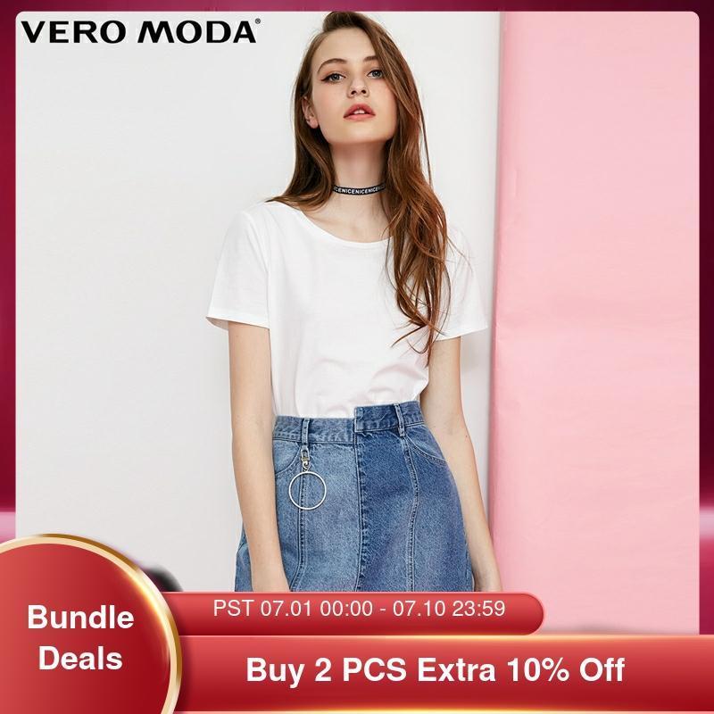 Vero Moda Women's Crew Neck Multicolor Basic style Minimalist T Shirt Top   318101551 T-Shirts  - AliExpress