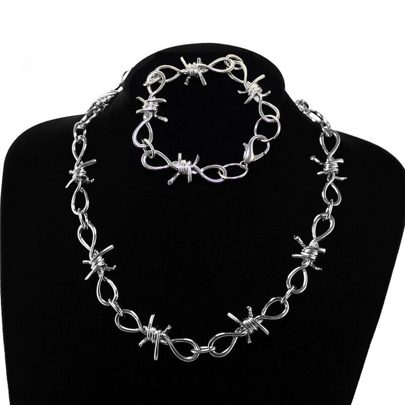 Youling New Thorns Iron Pants Chain Clavicle Choker Cool Hip Hop Necklace Bracelet image