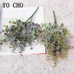 YO CHO Artificial Plant Eucalyptus Leaves Plastic Green Plants Fake Eucalyptus Leaves DIY Home Wedding Forest Style Decorations