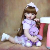 Muñeca de bebé Reborn de silicona suave de 60 CM, cuerpo de tela de 24 pulgadas, Princesa, pelo largo para niño, bebé, chico encantador, regalo de cumpleaños, juguete para casa