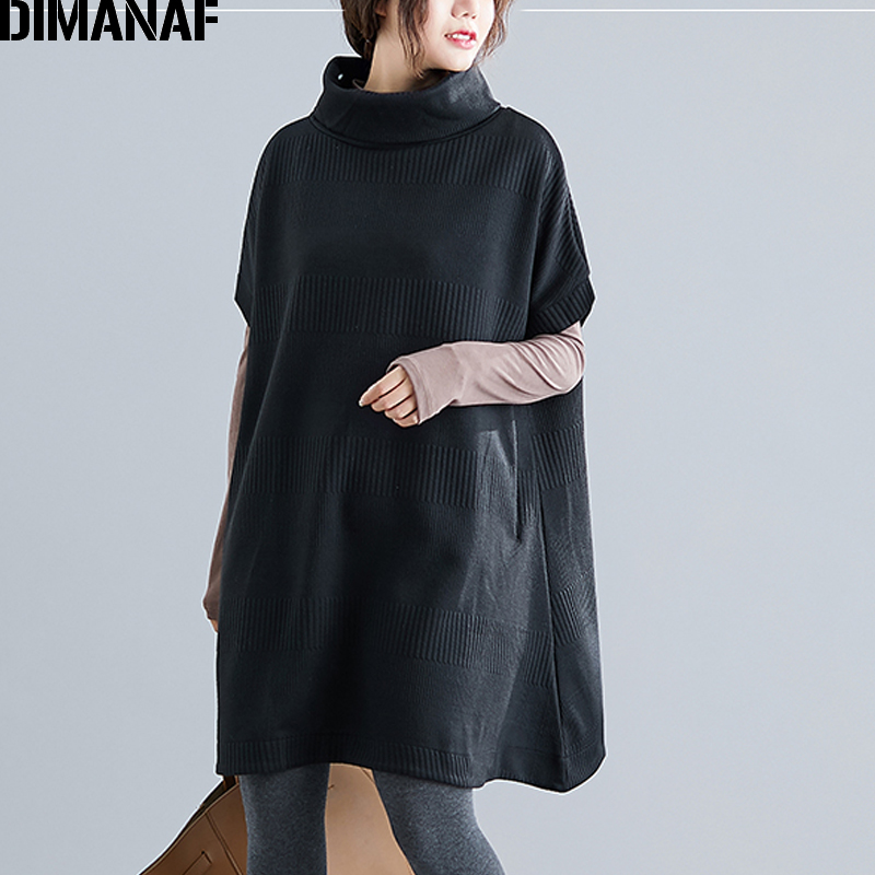 DIMANAF Winter Plus Size Women Sweatshirts Pullovers Female Tops Shirts Turtleneck Big Size Loose Casual Thick