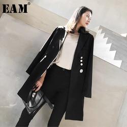 [EAM]  Women Black Button Stitch Long Blazer New Lapel Long Sleeve Loose Fit  Jacket Fashion Tide Spring Autumn 2020 1W524