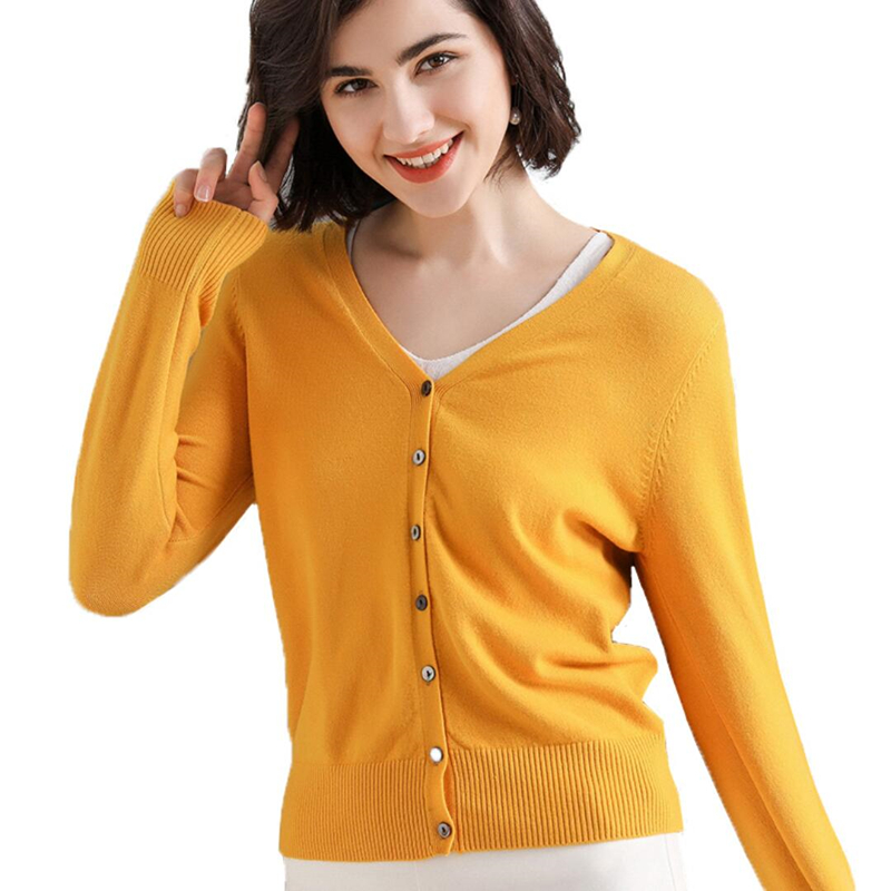 Ladies Knitted Cardigans Spring Autumn Cardigan Sweaters Women Casual Long Sleeve Tops V Neck Solid Women Sweater Coat Female