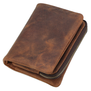 Мужской кожаный кошелек на молнии Crazy Horse, бумажник из натуральной кожи высшего качества с карманом для монет
