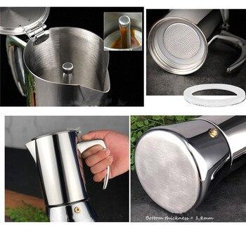 geyser coffee maker induction cooker 300ML 304 Stainless Steel espresso coffee maker Coffee pot  Moka Pot italian coffee machine 2