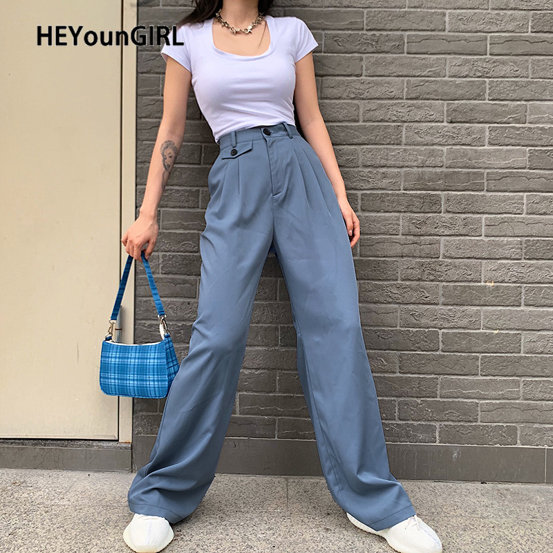 HEYounGIRL Summer Straight Long Trousers Ladies Casual Loose High Waist Pants Women Pocket Korean Fashion Suit Pants Capris