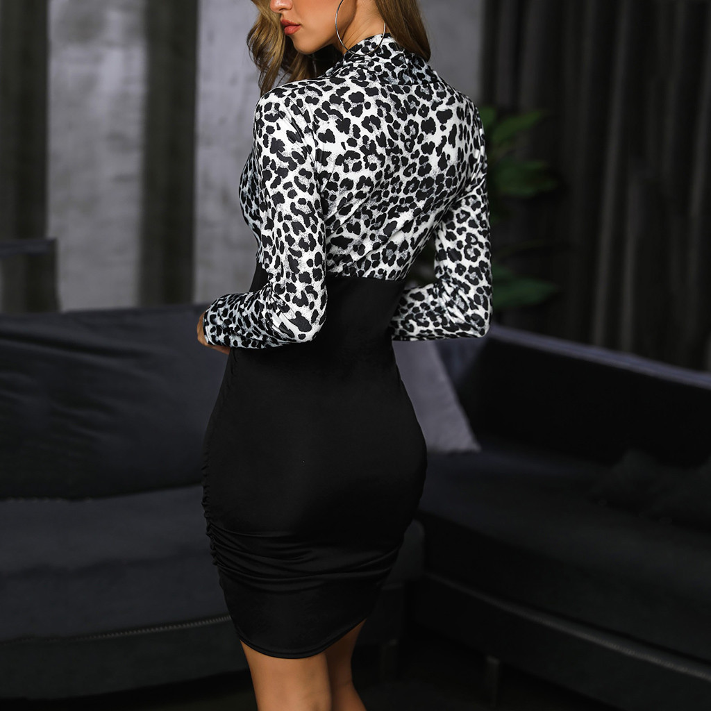 Dresses For Women Cross V Neck Long Sleeve Leopard Print Bodycon Casual Work