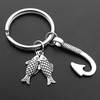 Fashion Fish and Hook Key Chain Keychain Jewelry Silver Color Fisherman I Love Fishing Pendant Holder - discount item  43% OFF Fashion Jewelry