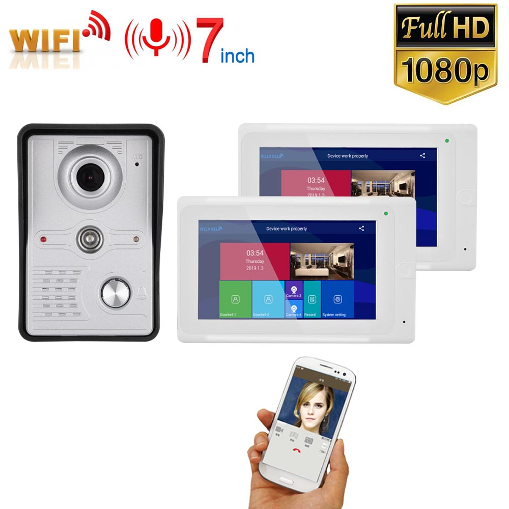 7 Inch 2 Monitors  Wireless WIFI Video Door Phone Doorbell Intercom Entry System With Wired HD 1080P Wired Camera Night Vision,S