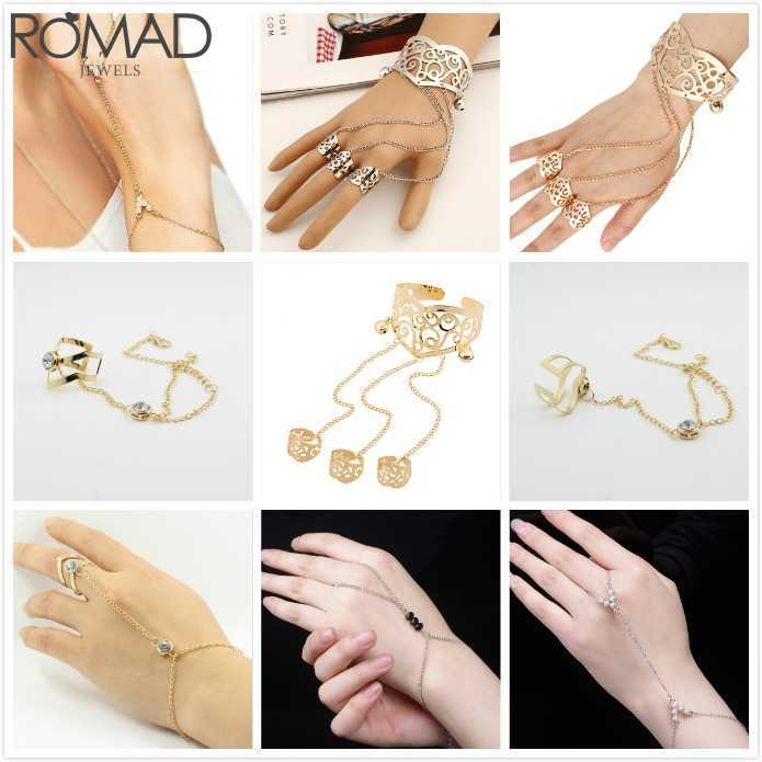 ROMAD Vintage Finger Connected Bracelet Women Rhinestone Mid Finger Link Chain Bracelt Bangle Bridal anel connected Bracelet R5