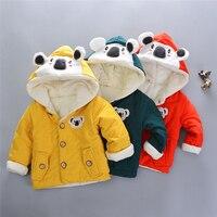 Infant Kids Cartoon Koala Hooded Coats Baby Boys Girls Fashion Autumn Winter Thick Warm Long Sleeve Jackets Clothes 6M 4T A20