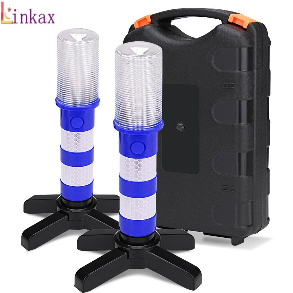 2PCS Portable LED Emergency Roadside Flares Detachable Stand Beacon Safety Strobe Light Warning Signal Alert SOS Lamps