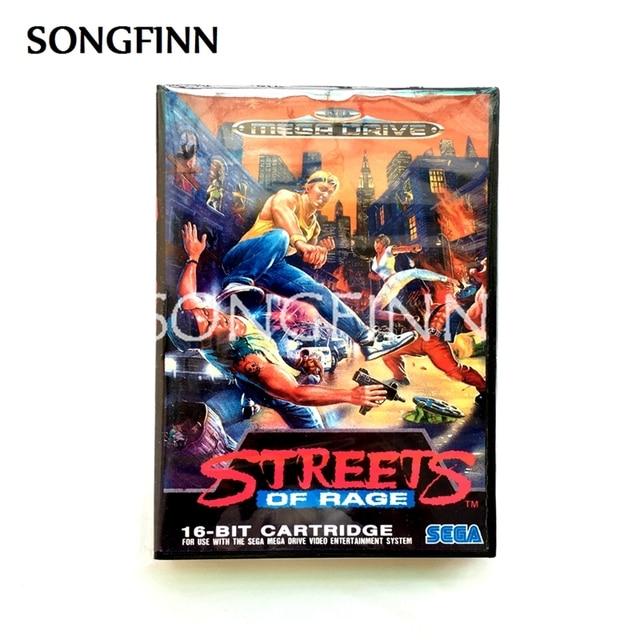 16 บิตพร้อมกล่องสำหรับ Sega MEGA Drive สำหรับ Genesis Megadrive Streets Of Rage