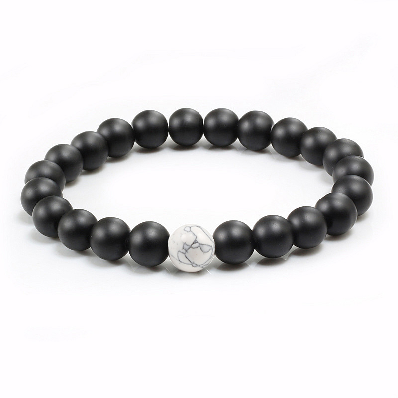 Distance Couple Bracelet Men Women 8mm Black Lava White Natural Stone Beads Strand Bracelets Bangles Friendship Jewelry Pulseras 2