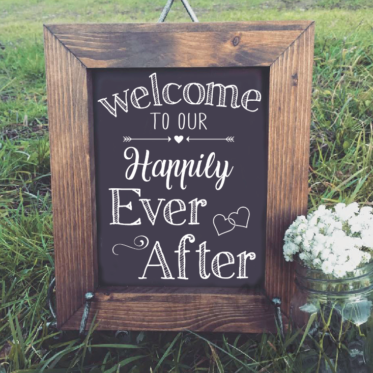 Wedding Sign Decals Welcome to our happily ever after Quote Wood Mirror Vinyl Sticker Wedding Party Decoration Art image