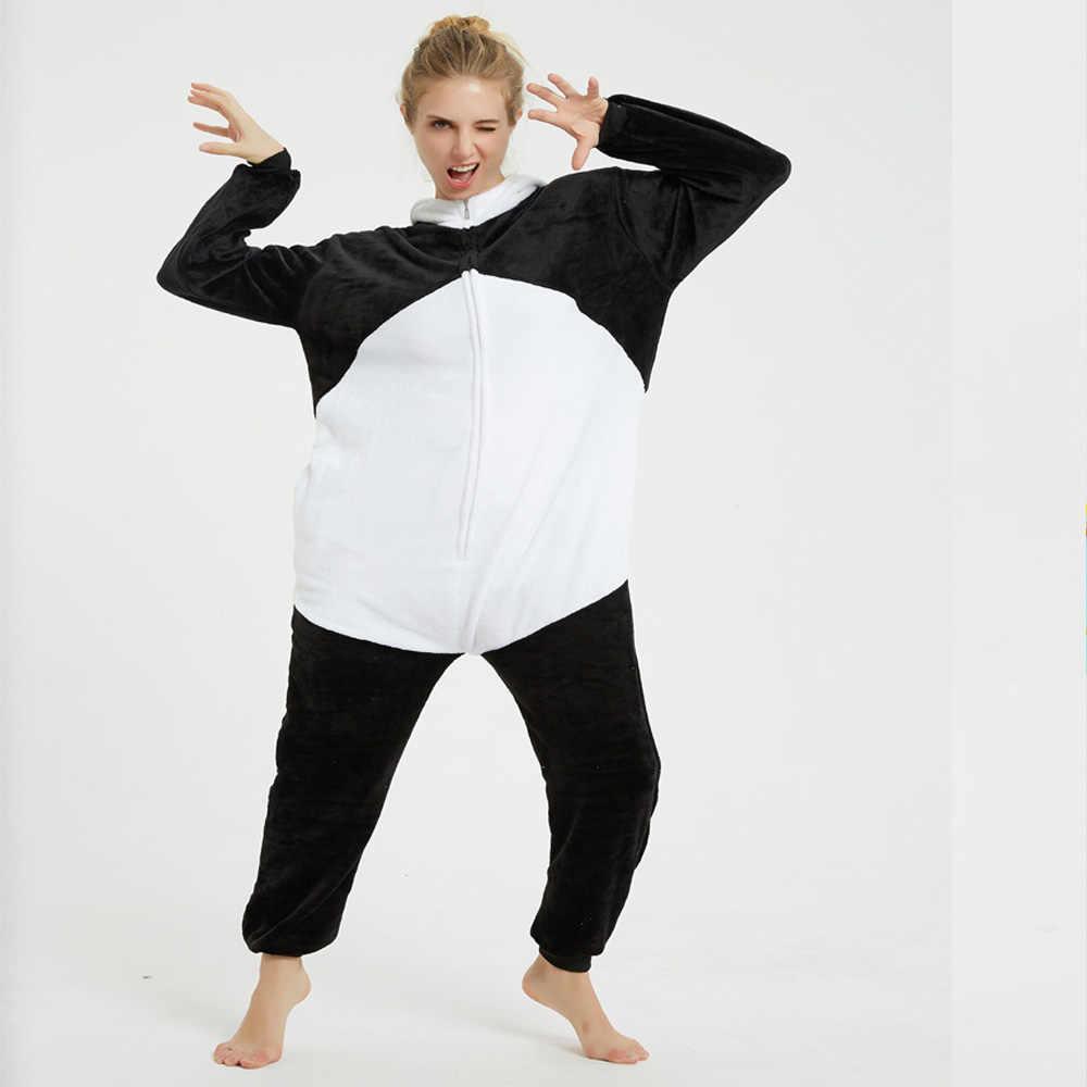 Flanel Winter Panda Kigurumi Pijamas Eenhoorn Vrouw Rompers Jumpsuits Adult Rompertjes Pyjama Mannen Jumpsuit Rompertjes Voor Volwassenen