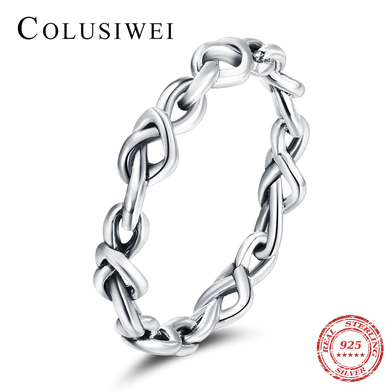 Colusiwei Pure 925 Sterling Silver Twist Heart To Heart Finger Rings Simple Fashion Band For Women Wedding Engagement Jewelry