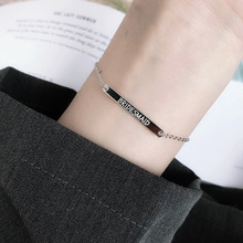 100% Real Silver 925 Sterling Silver Custom Name Bracelet Engrave Letters Adjustable Bangles For Women ID Tag Memory Gift