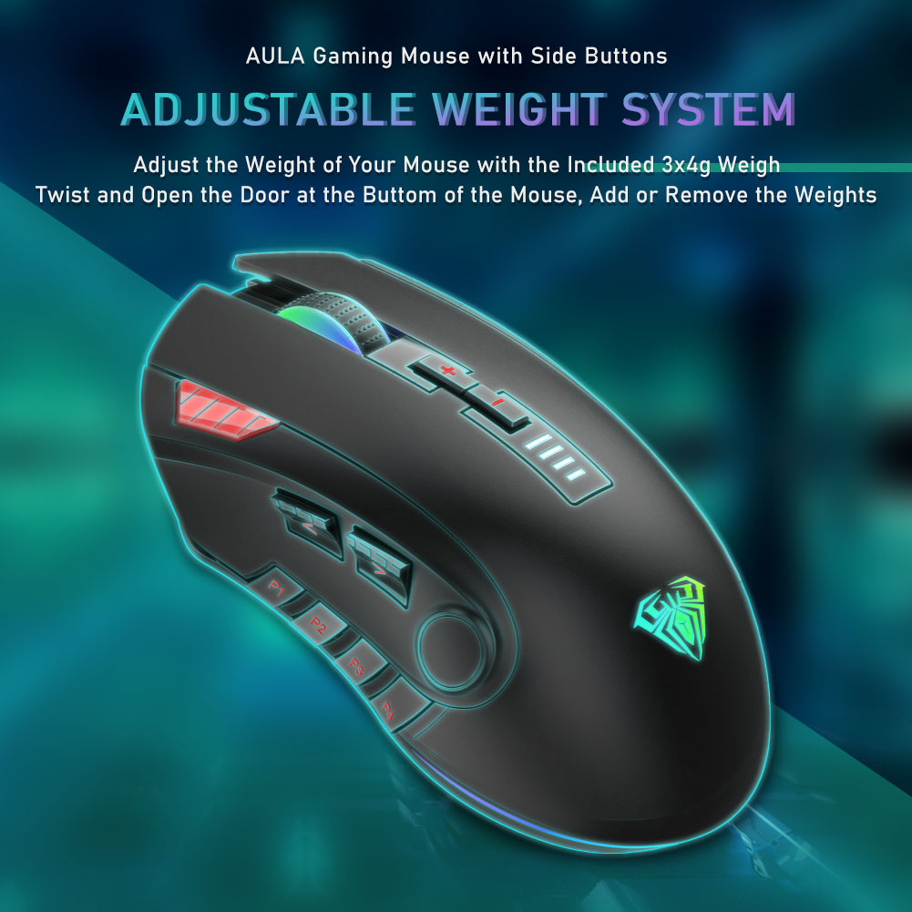 AULA H512 RGB Backlight Gaming Mouse 12 Buttons Programming 5000 DPI Optical USB Wired Mouse with Fire Keys For Laptop Desktop