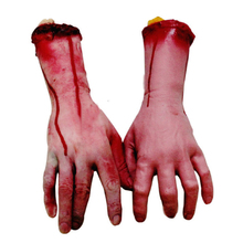 1 Pair Horror Bloody Realistic Prosthetic Fake Human Body Parts Creepy Severed Arm Broken Hand Trick Scary Halloween Decoration