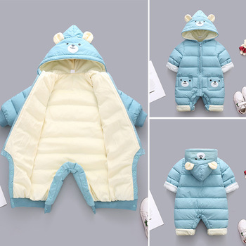 2020 New born Panda Baby clothes Winter Hooded Rompers Thick Cotton Warm Outfit Jumpsuit Overalls Snowsuit Children Boy Clothing