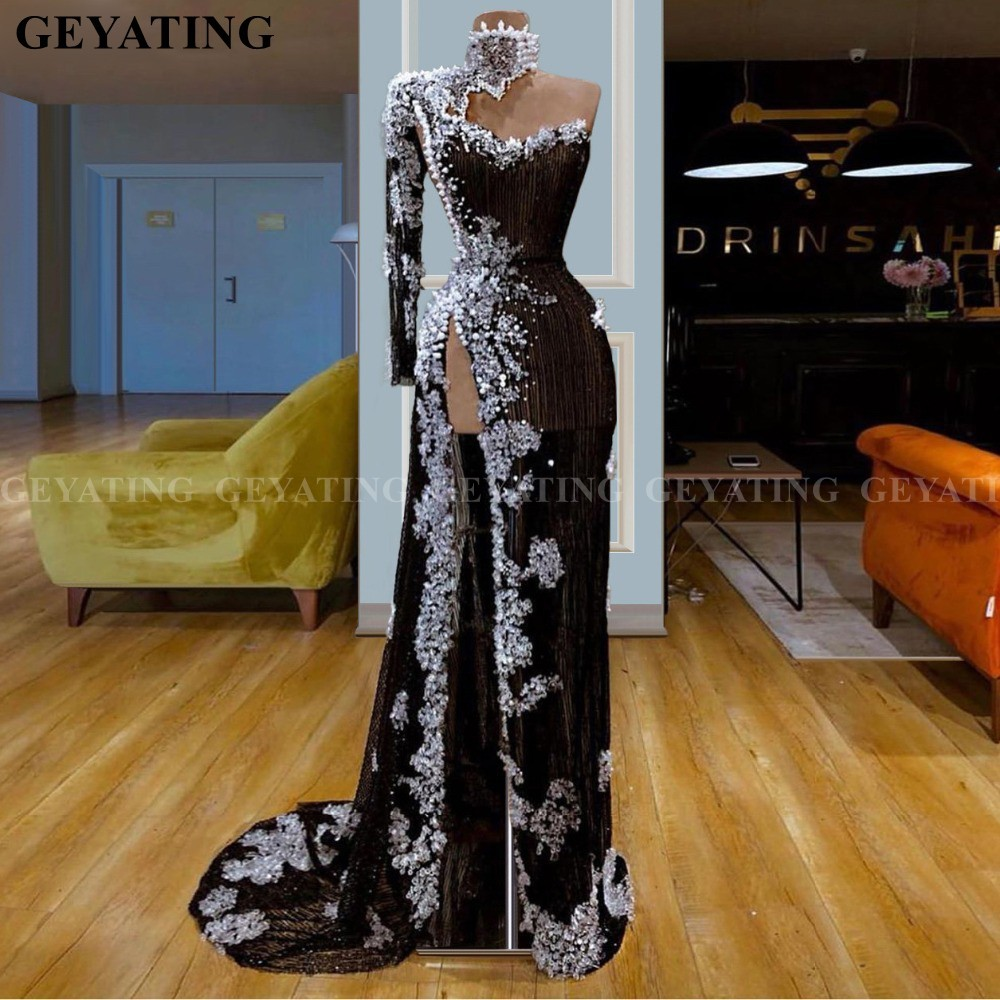 Sexy One Shoulder Mermaid Black Prom Dresses With High Slit Long Sleeve High Neck Dubai Kaftan Arabic Women Formal Evening Gowns