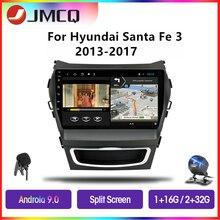 Jmcq android 9.0 rádio do carro para hyundai santa fe 3 grande 2013-2017 multimídia jogador gps navigaion flutuante janela rachada tela