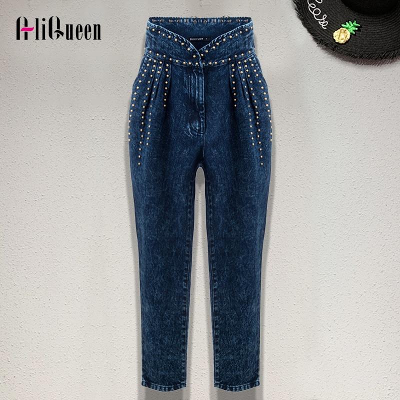 US $34.41 37% OFF|2019 High Waist Runway Denim Trousers for Women Patchwork Heavy Rivet Long Mom Jeans Woman Autumn Blue Punk Pants Streetwear on