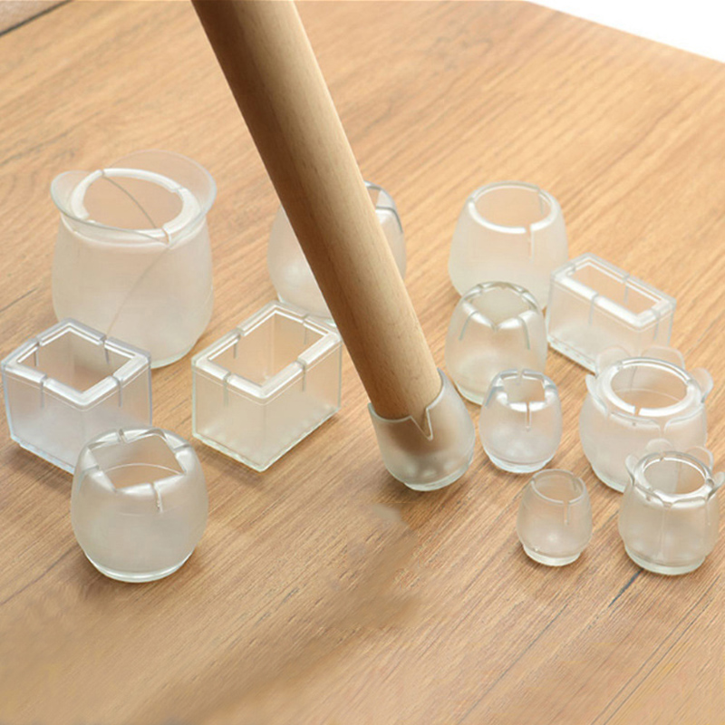 1/6/16 Pcs Furniture Legs Silicone Thickened Transparent Non-slip  Caps And Wear-resistant Table Chair Sofa Foot Protector