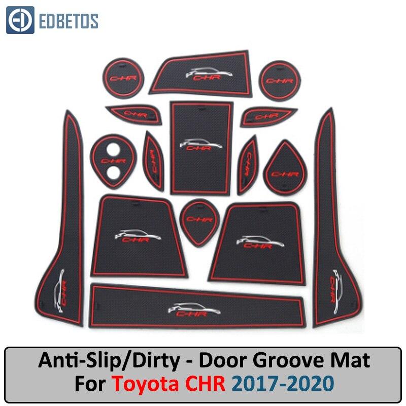 Door Groove Mat For Toyota CHR CH-R 2017 2018 2019 Anti-Slip Mat Gate Slot Coaster Anti-Dirty Mat  Car Interiors Gel Pad Rubber