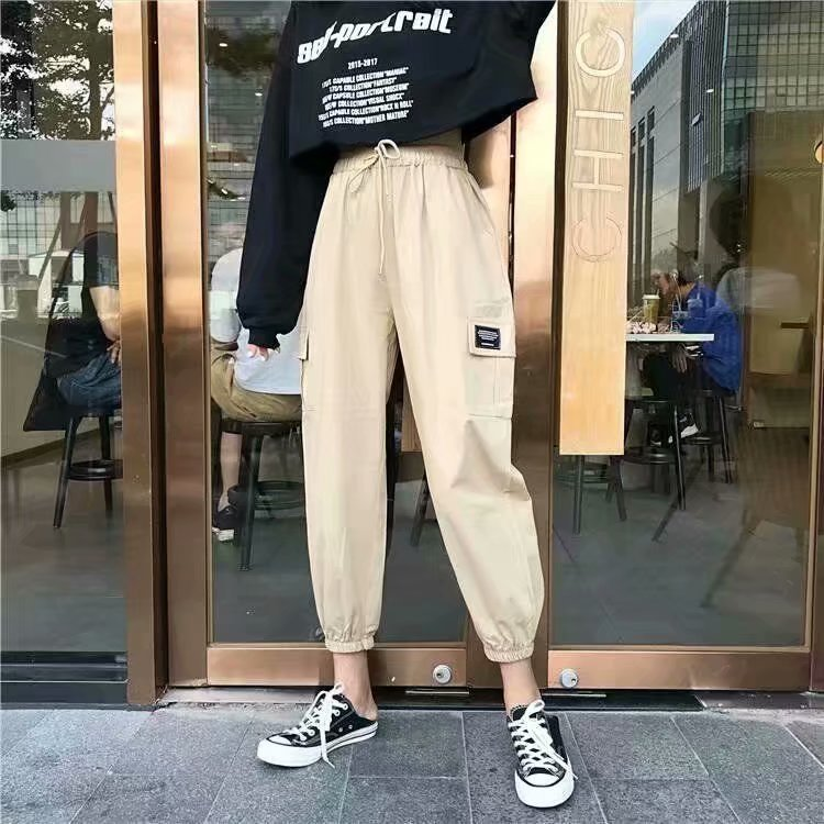 Autumn Women's Loose-Fit Bib Overall BF Style Beam Leg Cargo Multi-pockets High-waisted Slimming INS Pants Capri Athletic Pants